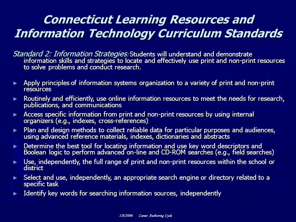 Connecticut Learning Resources and Information Technology Curriculum Standards