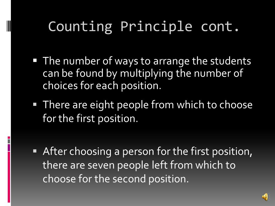 Counting Principle cont.