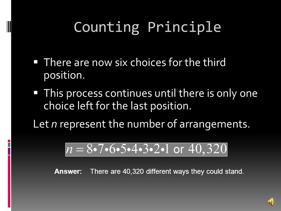 Counting Principle There are now six choices for the third position.