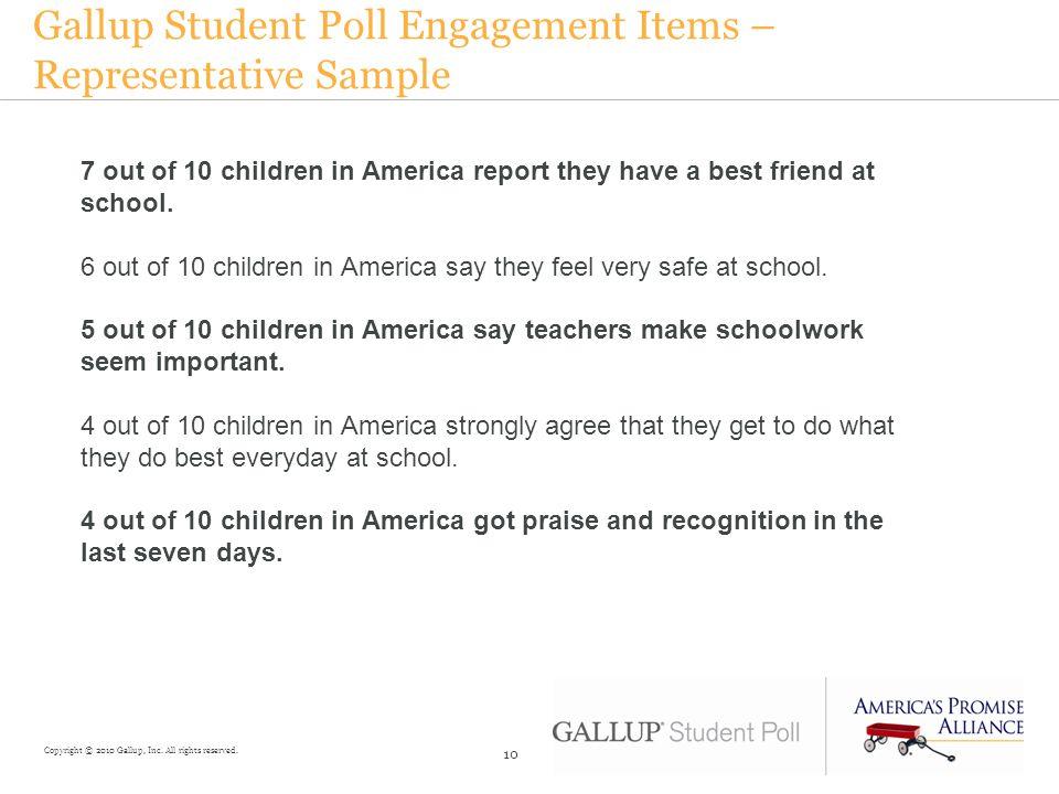 Gallup Student Poll Engagement Items – Representative Sample