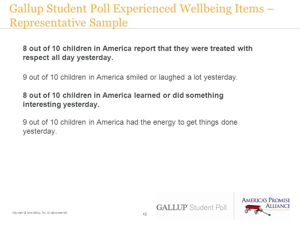 Gallup Student Poll Experienced Wellbeing Items – Representative Sample