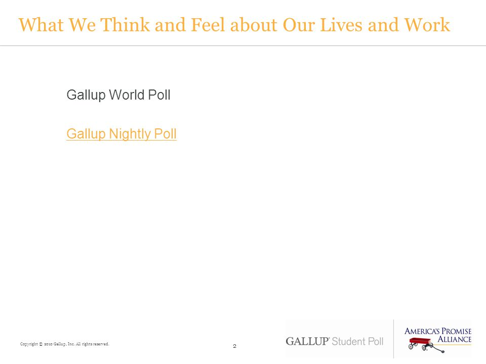 What We Think and Feel about Our Lives and Work