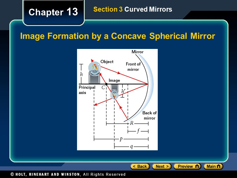 Image Formation by a Concave Spherical Mirror