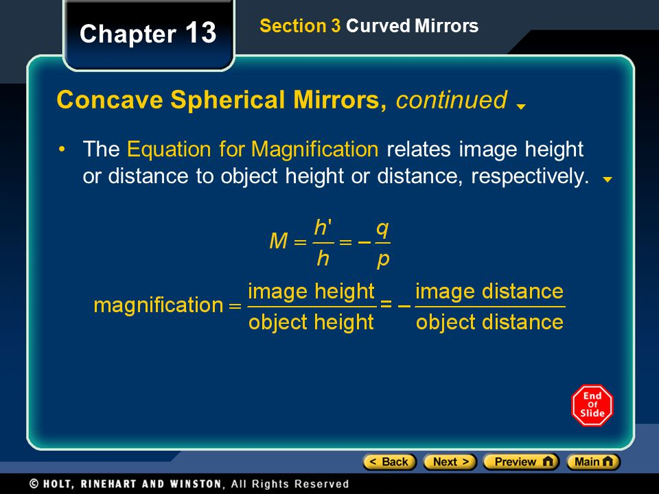Concave Spherical Mirrors, continued