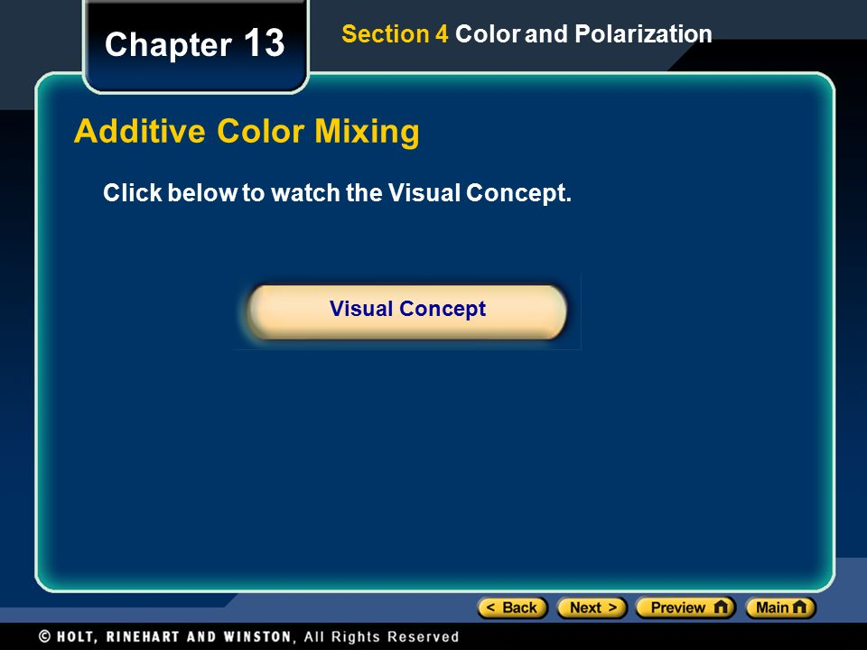 Chapter 13 Additive Color Mixing Section 4 Color and Polarization
