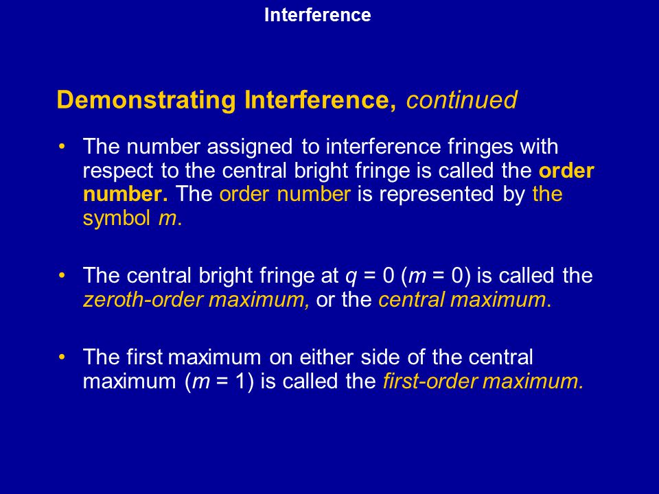 Demonstrating Interference, continued