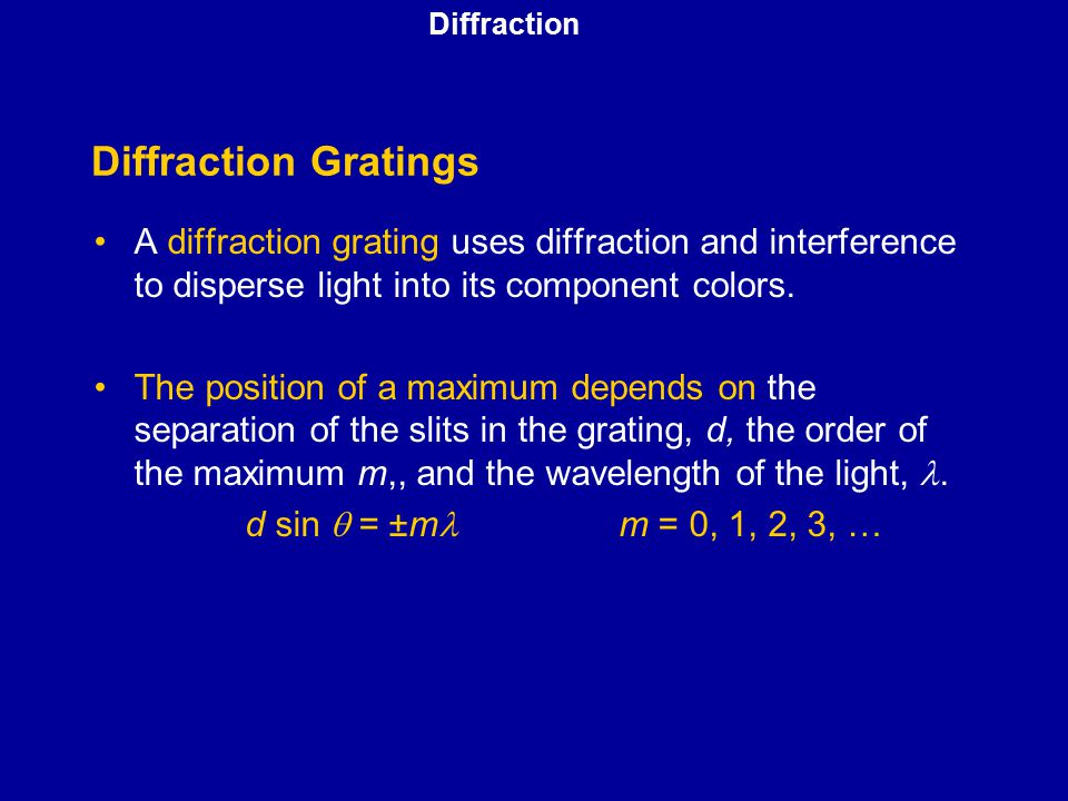 Diffraction Diffraction Gratings. A diffraction grating uses diffraction and interference to disperse light into its component colors.