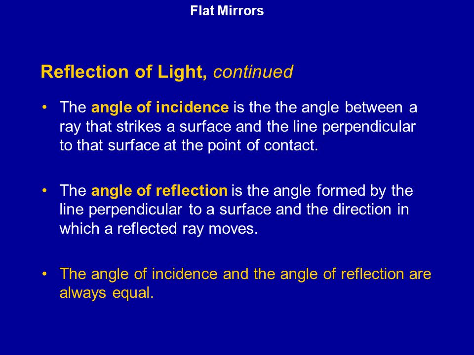 Reflection of Light, continued