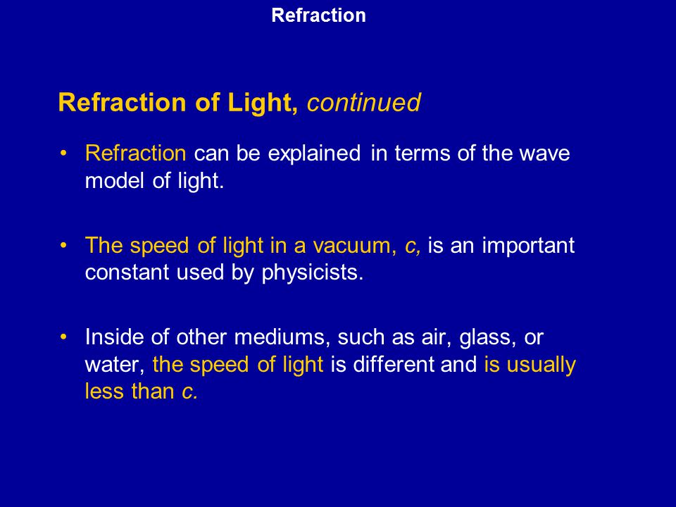 Refraction of Light, continued
