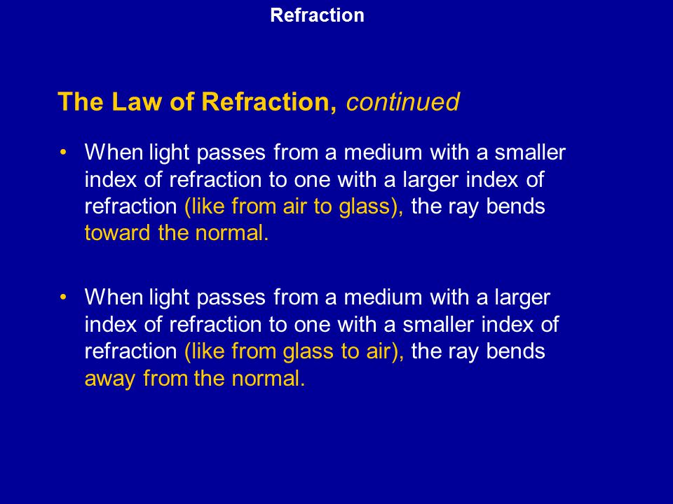 The Law of Refraction, continued