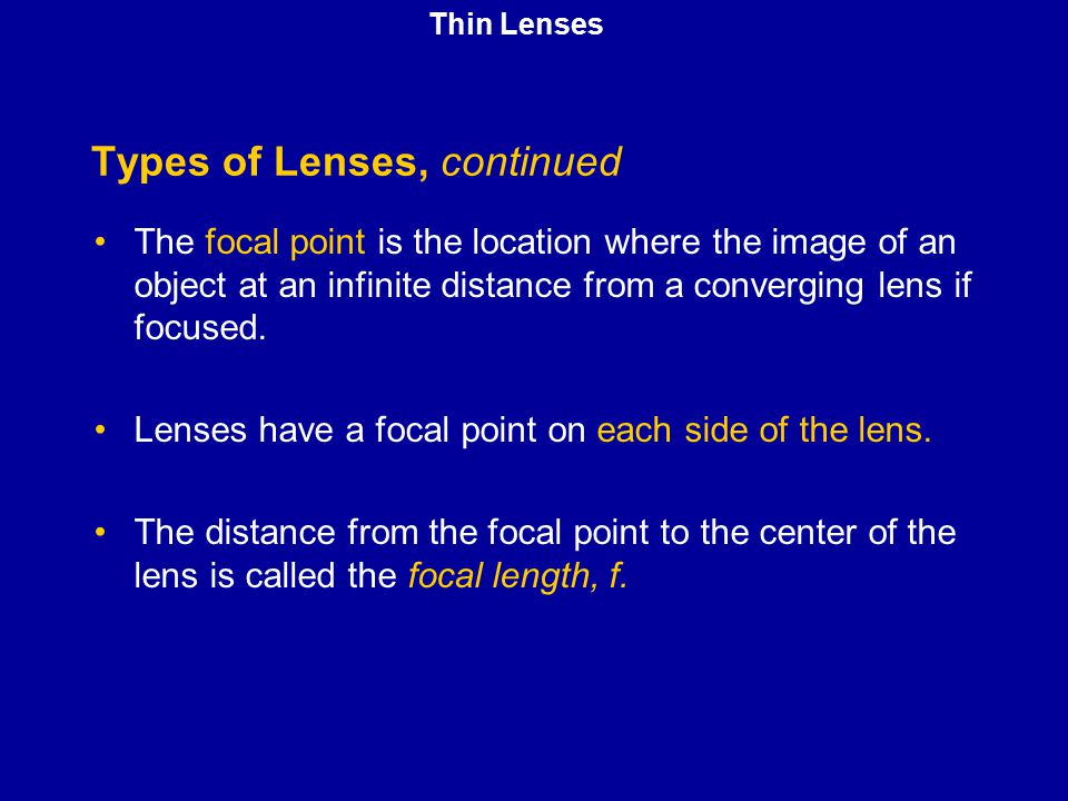 Types of Lenses, continued