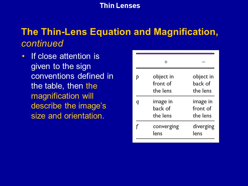The Thin-Lens Equation and Magnification, continued