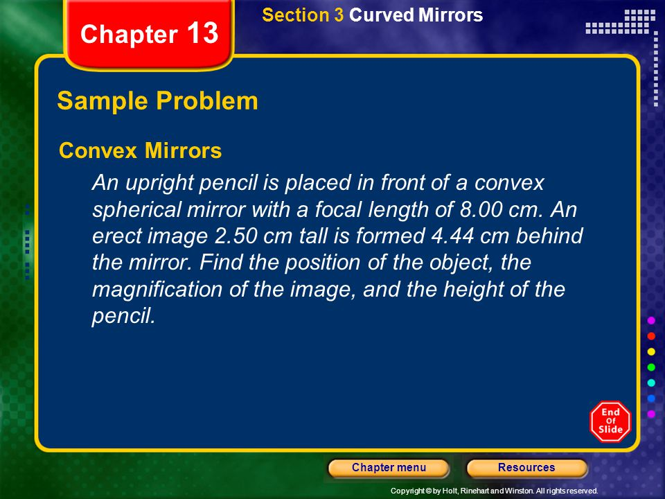 Chapter 13 Sample Problem Convex Mirrors