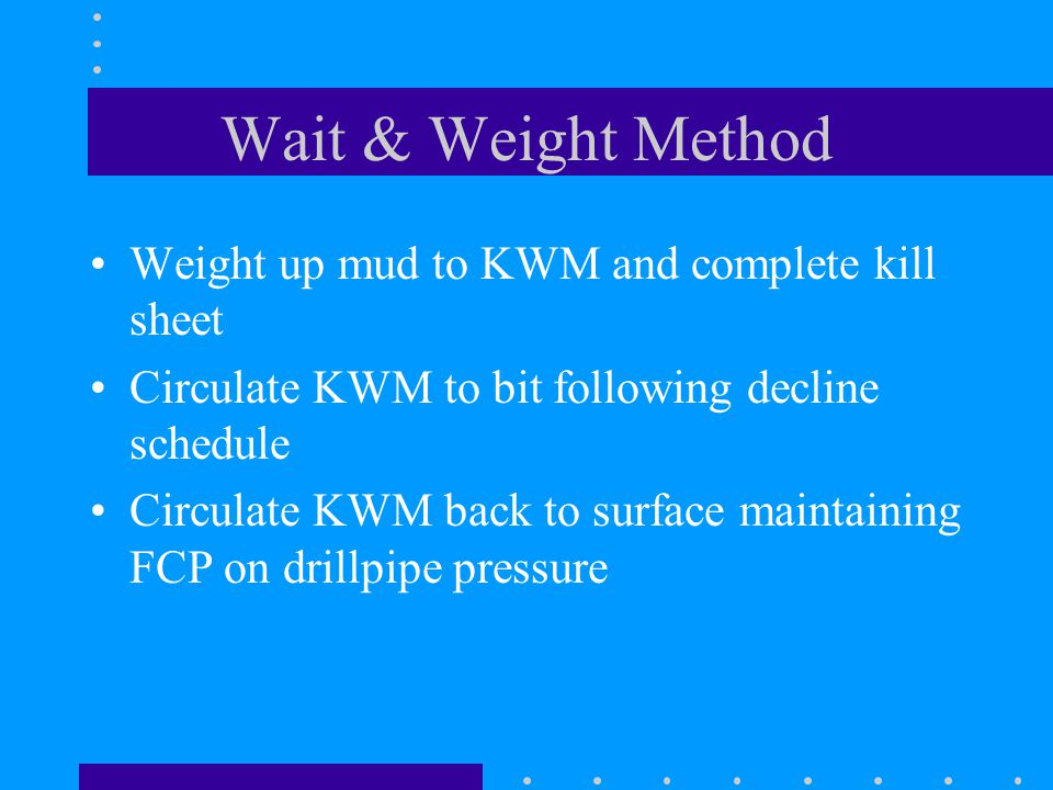 Wait & Weight Method Weight up mud to KWM and complete kill sheet