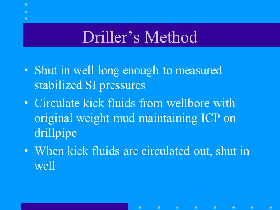 Driller's Method Shut in well long enough to measured stabilized SI pressures.