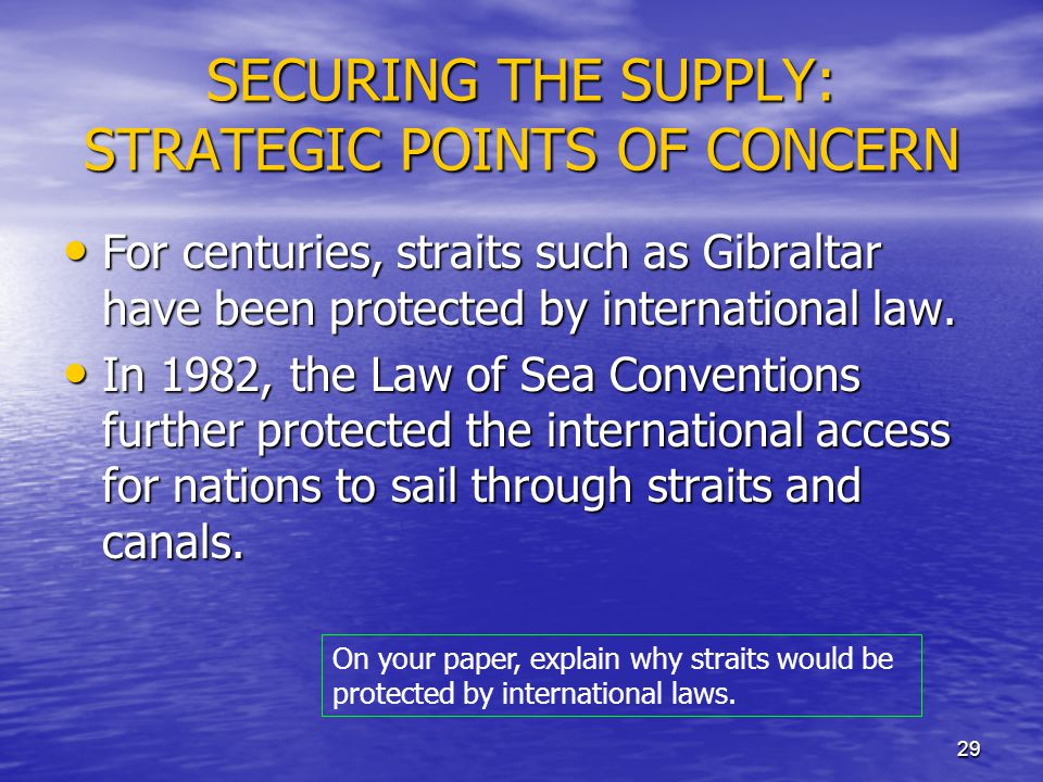 SECURING THE SUPPLY: STRATEGIC POINTS OF CONCERN