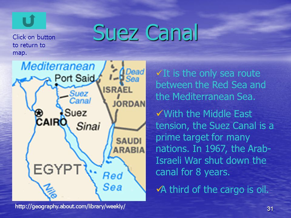 Suez Canal Click on button to return to map. It is the only sea route between the Red Sea and the Mediterranean Sea.