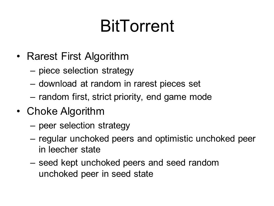 BitTorrent Rarest First Algorithm Choke Algorithm