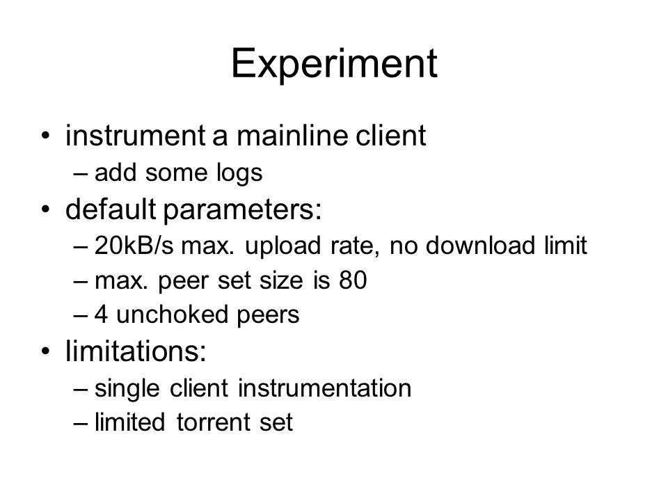 Experiment instrument a mainline client default parameters: