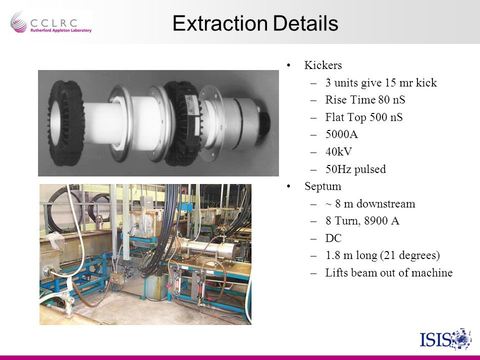 Extraction Details Kickers 3 units give 15 mr kick Rise Time 80 nS
