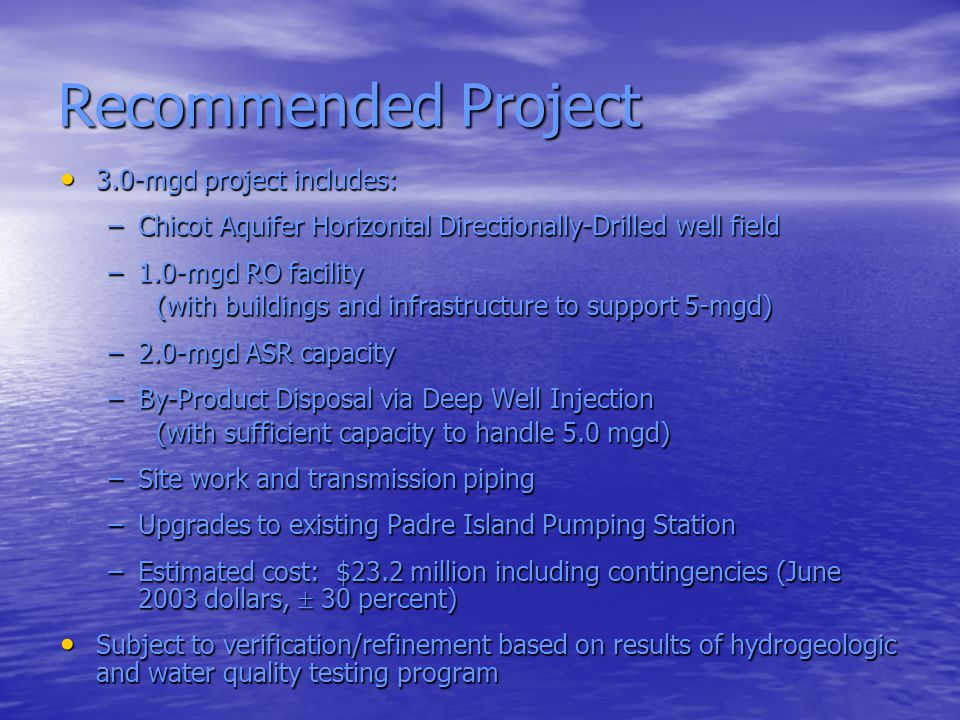 Recommended Project 3.0-mgd project includes: