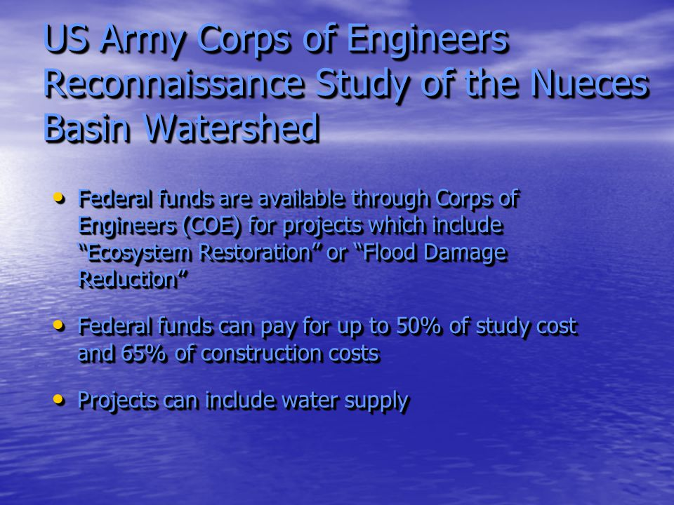 US Army Corps of Engineers Reconnaissance Study of the Nueces Basin Watershed