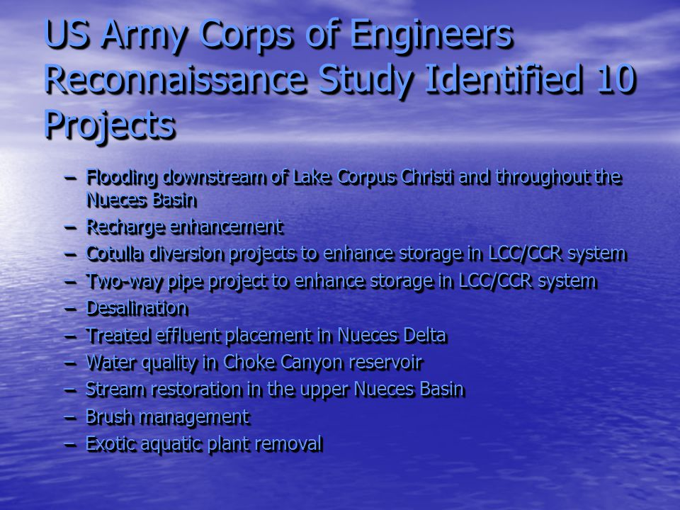 US Army Corps of Engineers Reconnaissance Study Identified 10 Projects