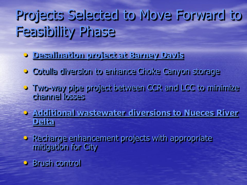 Projects Selected to Move Forward to Feasibility Phase