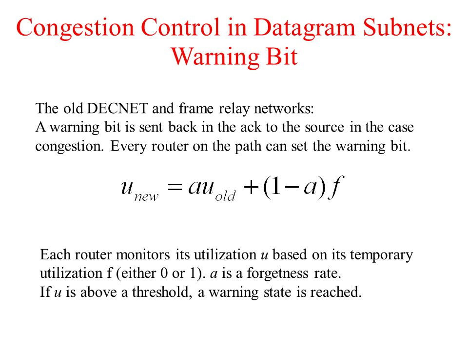 Congestion Control in Datagram Subnets: Warning Bit