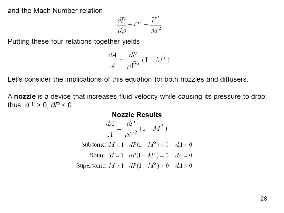 and the Mach Number relation