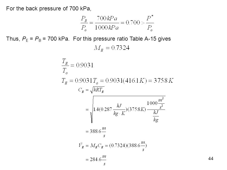 For the back pressure of 700 kPa,