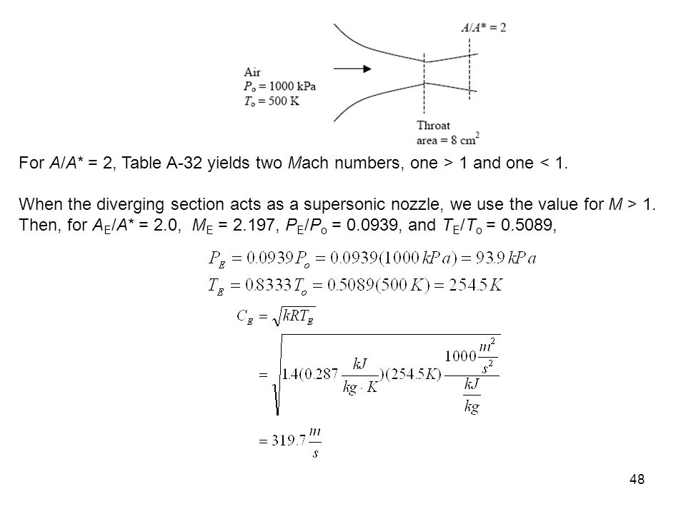 For A/A* = 2, Table A-32 yields two Mach numbers, one > 1 and one < 1.