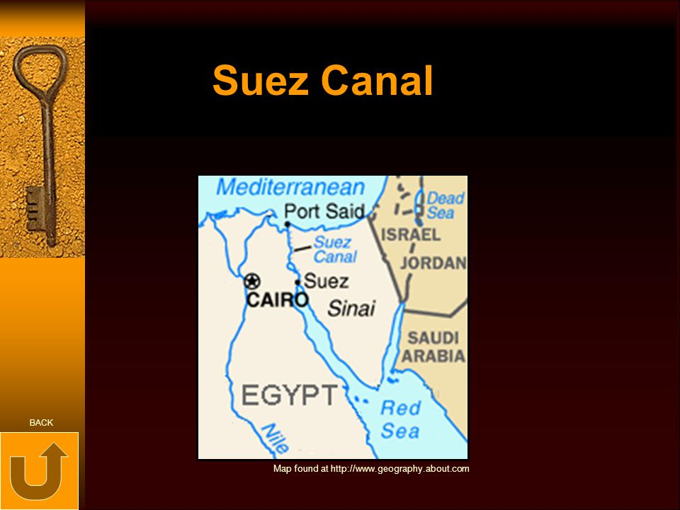 Suez Canal BACK Map found at http://www.geography.about.com