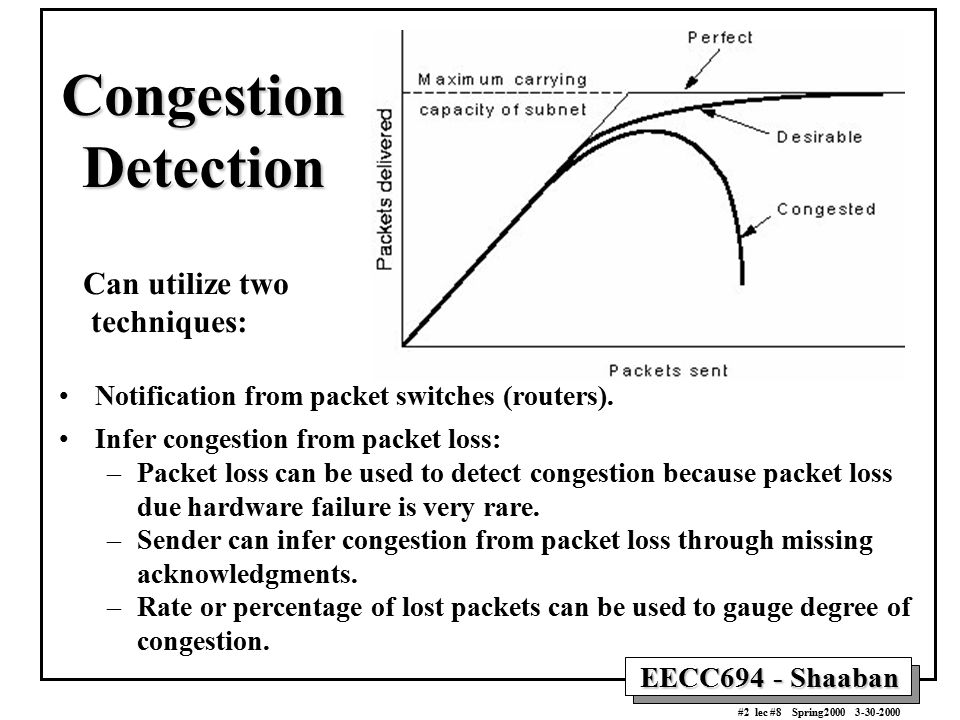 Congestion Detection Can utilize two techniques: