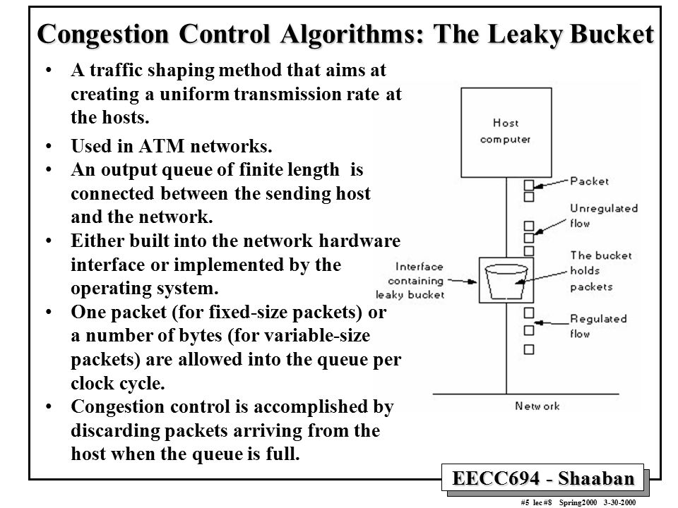 Congestion Control Algorithms: The Leaky Bucket