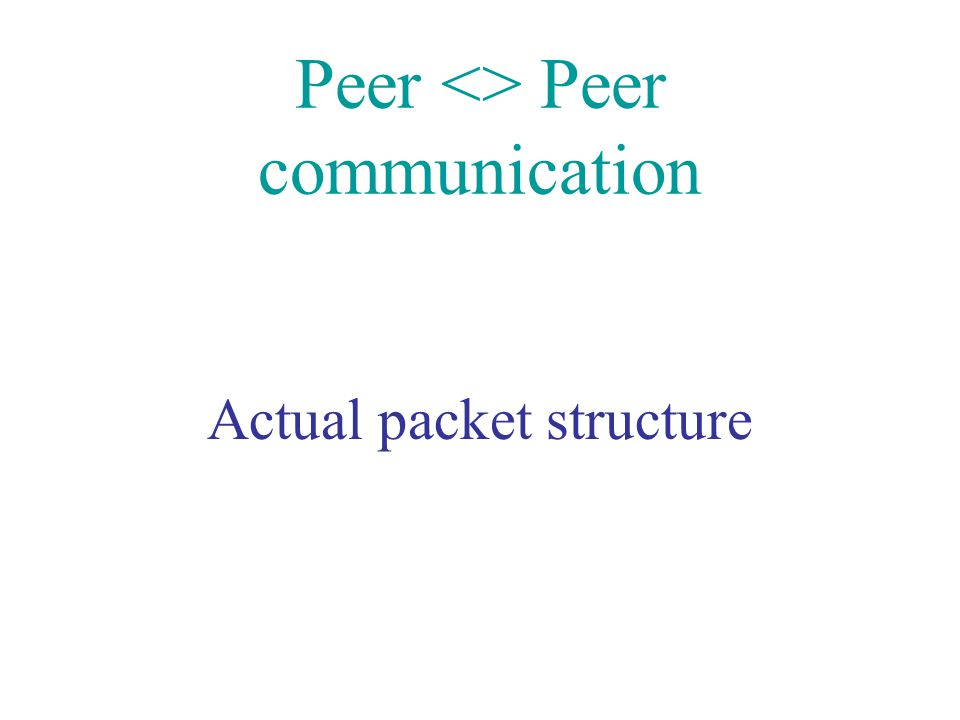 Peer <> Peer communication