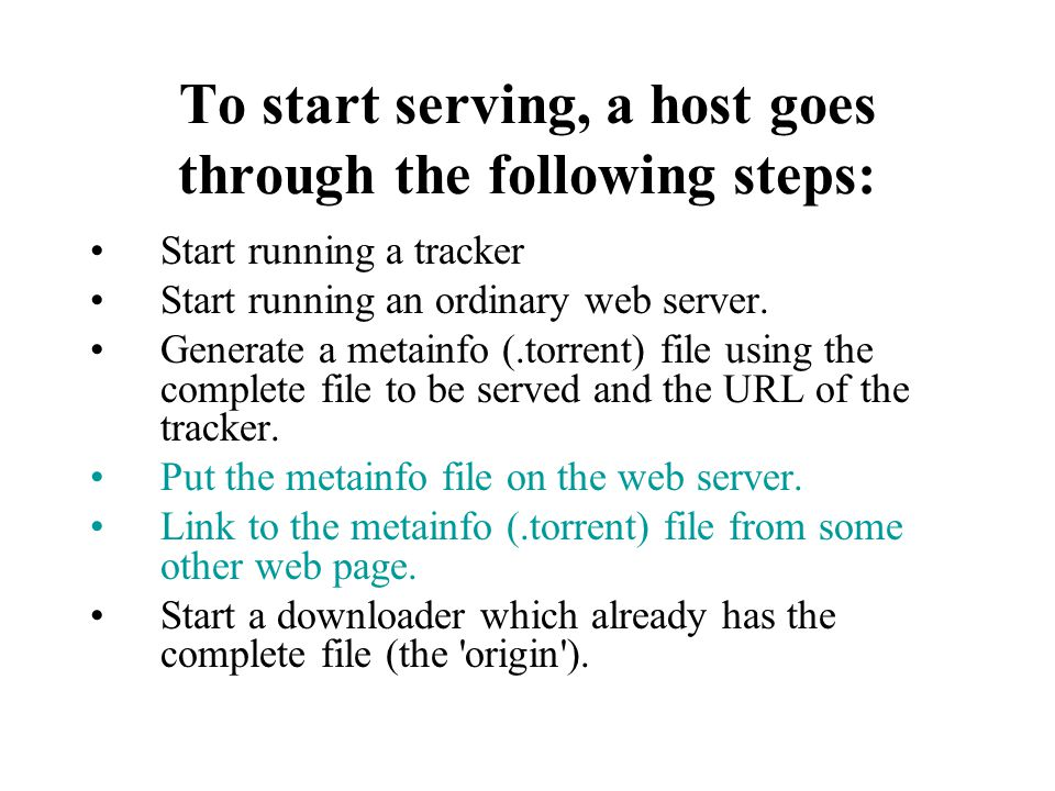 To start serving, a host goes through the following steps: