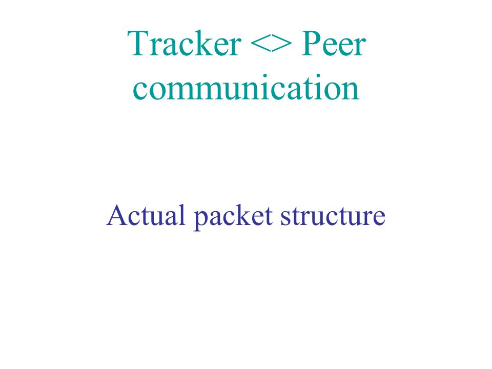 Tracker <> Peer communication
