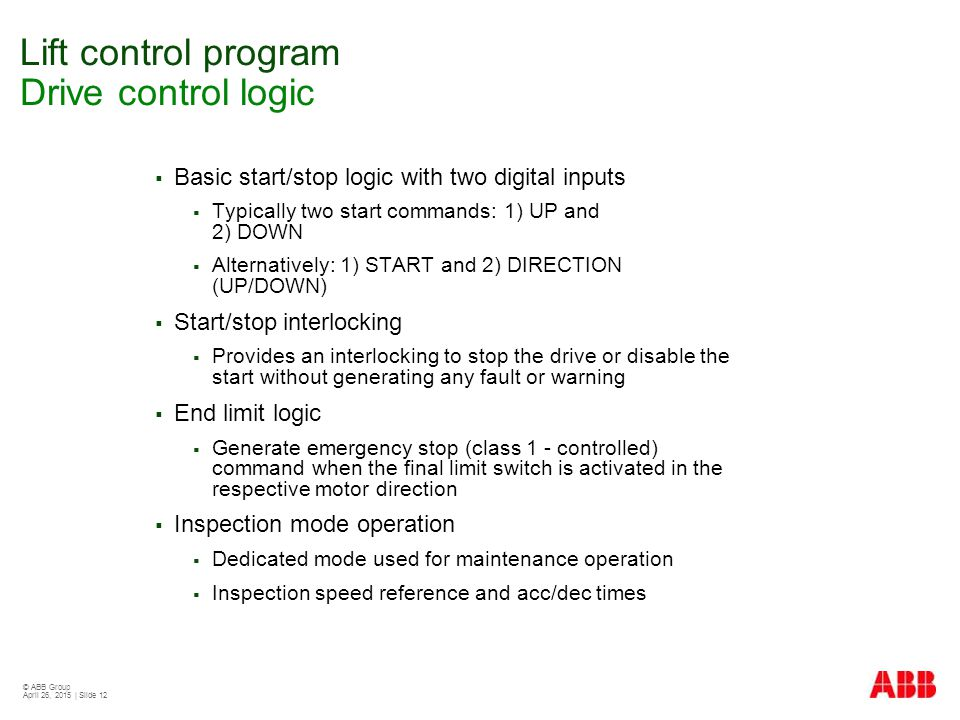 Lift control program Drive control logic