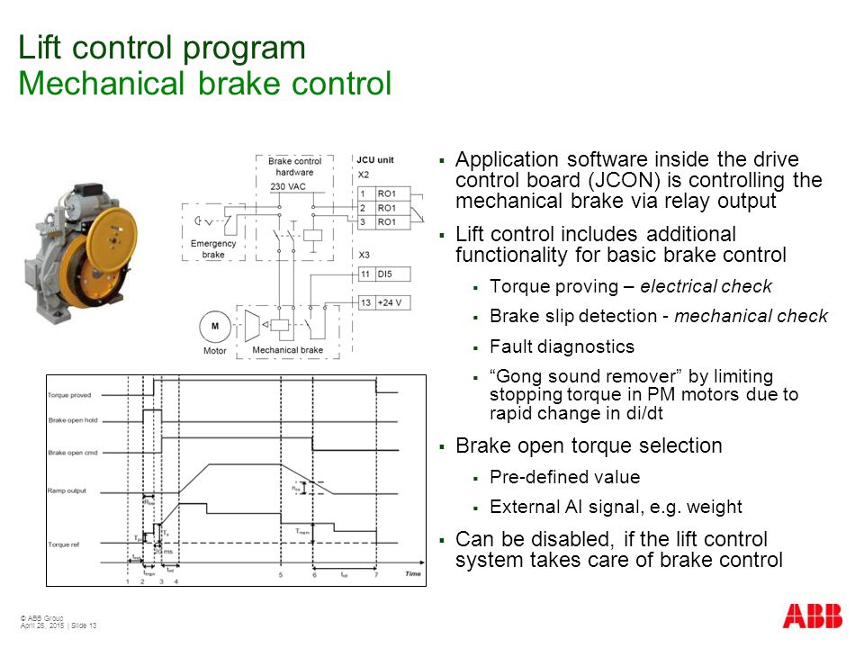 Lift control program Mechanical brake control