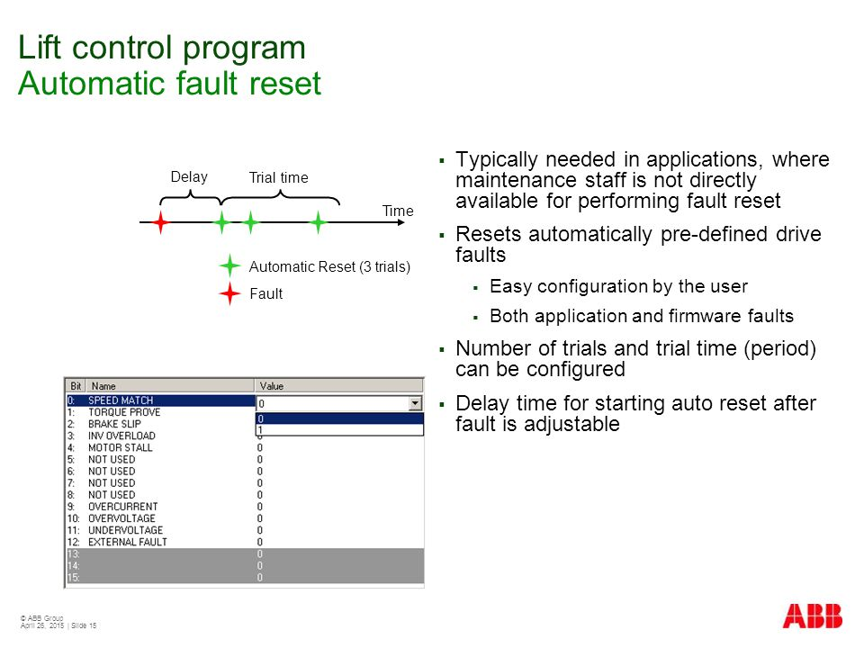 Lift control program Automatic fault reset