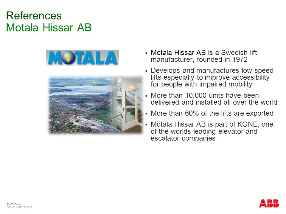 References Motala Hissar AB