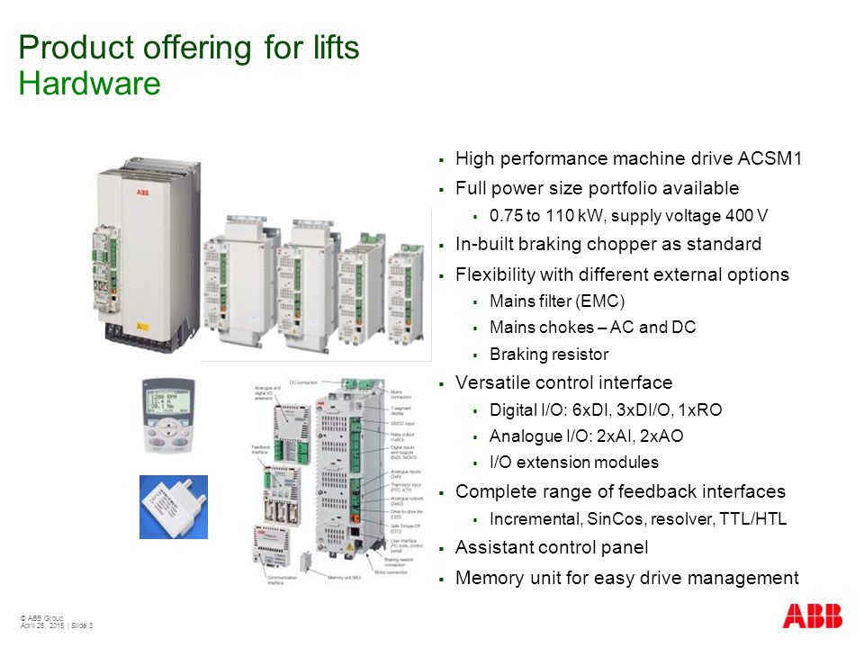 Product offering for lifts Hardware