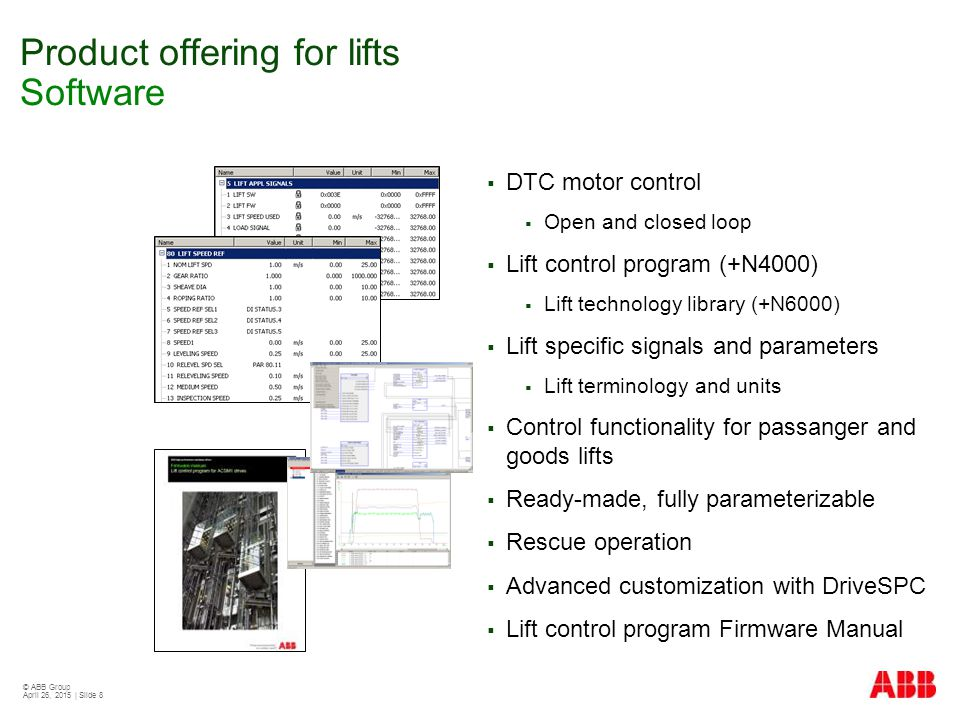 Product offering for lifts Software