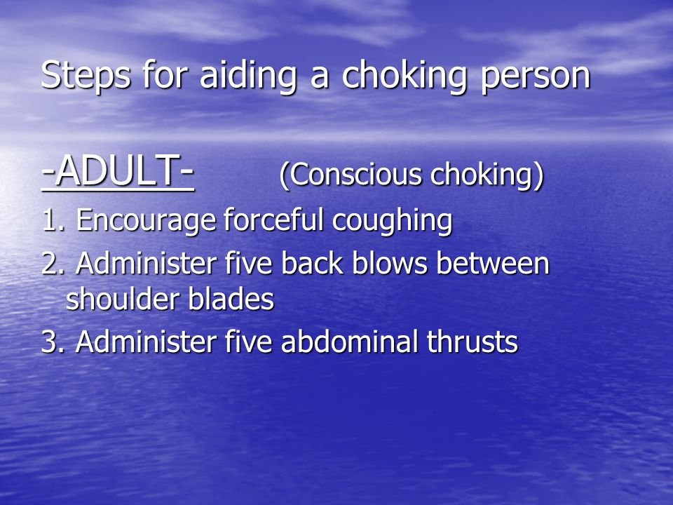 Steps for aiding a choking person