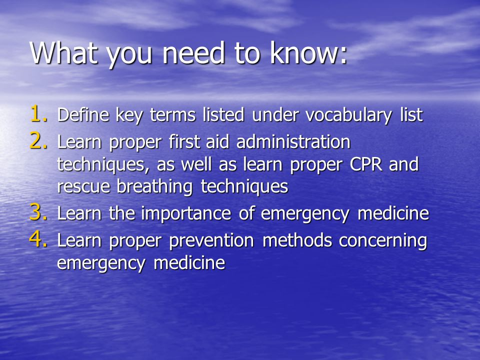 What you need to know: Define key terms listed under vocabulary list