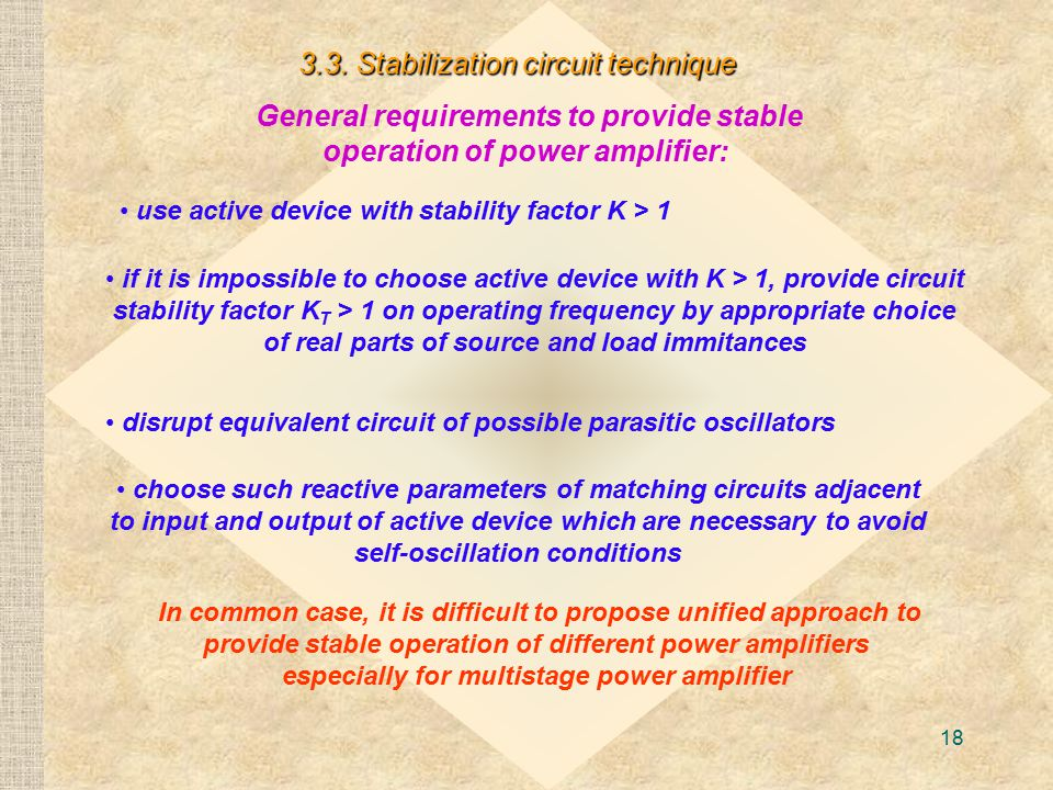 General requirements to provide stable operation of power amplifier: