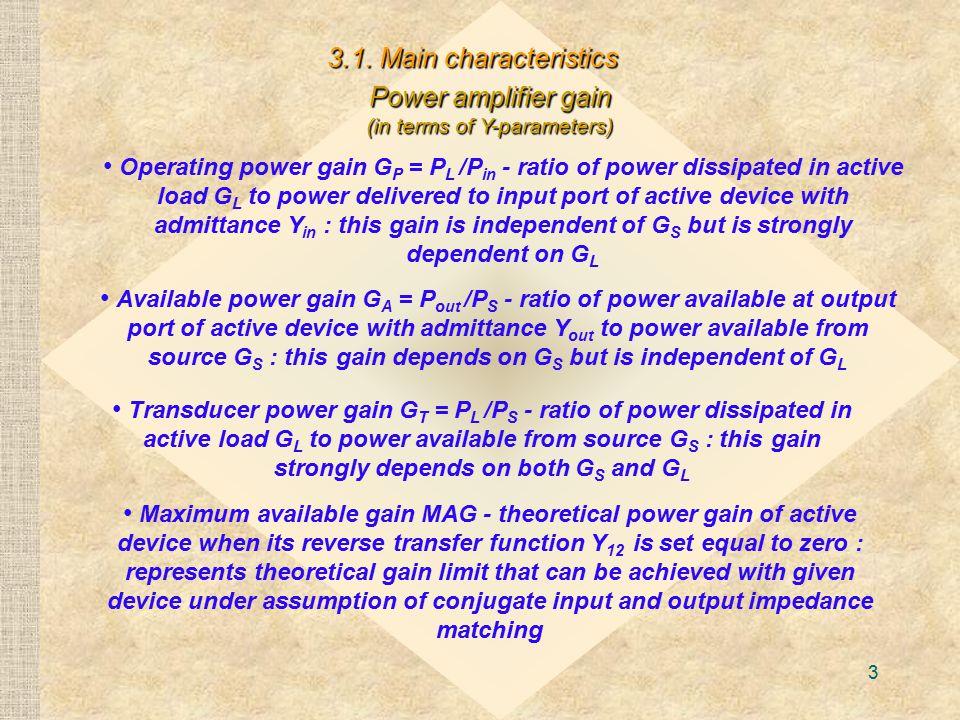 Power amplifier gain (in terms of Y-parameters)