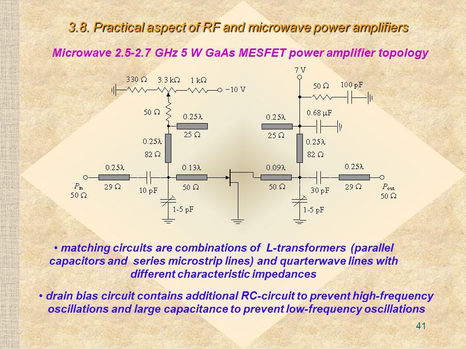 Microwave 2.5-2.7 GHz 5 W GaAs MESFET power amplifier topology