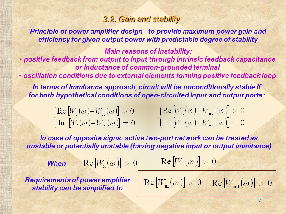 3.2. Gain and stability
